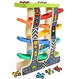 Lewo Circuit de Voiture Rampe de Course en Bois Jouets d'éveil avec 8 Véhicules Miniatures Cadeau Educatif et Créatif pour 1 2 3 Ans Enfants Garçons Bébés...