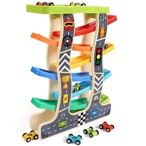 Lewo Circuit de Voiture Rampe de Course en Bois Jouets d'éveil avec 8 Véhicules Miniatures Cadeau Educatif et Créatif pour 1 2 3 Ans Enfants Garçons Bébés