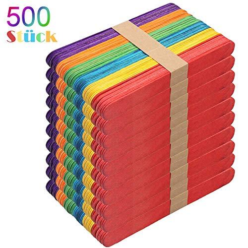 LVHERO Holzspatel Bunt, 500 Stück Mehrfarbig Eisstiele Aus Holz Zum Basteln ideal für EIS am Stiel, Waxing und Basteln