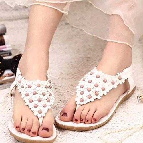 Fulltime® Bohemian Summer perlées Sandales clip Toe Sandals Chevrons des femmes Blanc