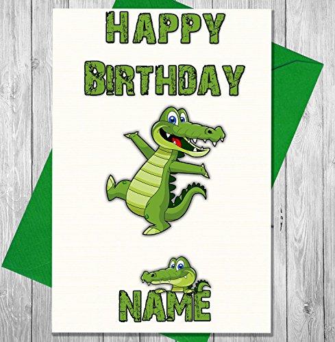 Cartoon Krokodil Personalisierte Geburtstagskarte–Jeder Name und Alter (Alligator Botschaft)