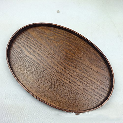 Super KD Holz Serviertablett Deko Tablett oval, Ottoman dienen für Food Kaffee oder Tee, holz, 39X25X2.5CM -
