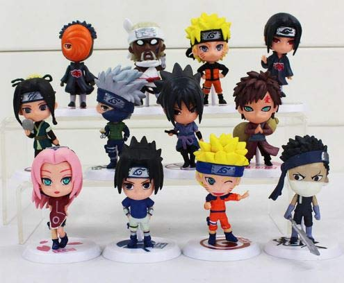League Of Loveliness Lot 12 Figures Naruto Shippuden PVC Characters Sasuke kawashi Sakura Gaara Itachi Obito Madara Killer Bee Mini 7cm