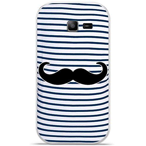 Coque TPU gel souple Samsung Galaxy Trend Lite design Mariniere bleue Moustache