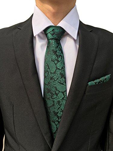 Herren stilvolle Paisley Krawatten Einstecktuch Manschettenknöpfe Set (4pcs)