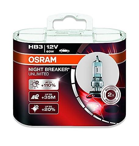 OSRAM NIGHT BREAKER UNLIMITED HB3 Lampe automobile halogène  9005NBU-HCB +110% de lumière en plus et +20% de lumière plus blanche Quantité par 2