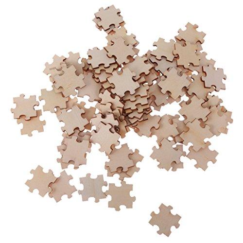 MagiDeal 100pcs Holz Puzzle Verzierungen Für Handwerk