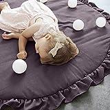 MMLsure Krabbeldecke Rund Gepolstert Spielmatte Teppich Kriechmatte Einfarbig Baumwolle Spitze Kinderteppich Babyzimmer Groß Dekoration,95 cm (Grau)