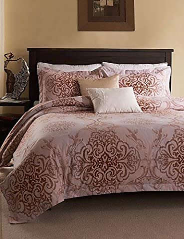 KIUYTGHNB Simple Opulence Duvet Cover Set Polyester luxury Printed Rose Pink Include Quilt Cover Pillow Cases Queen King , king