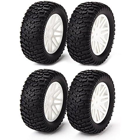 DN Borde de la rueda de goma de neumáticos Neumáticos para RC 1:10 Off-Road Blanco Malla Cubo de rueda (paquete de 4)