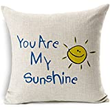 Poens Dream Funda de Coj'n, You are My Sunshine Printed Cotton Linen Decorative Pillow Cushion Cover, 17.7 x 17.7inches