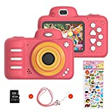 Vannico Kinder Digital Mini Kamera, Selfie Photo Kids Camera HD Kinderkamera 8 Megapixel, Wiederaufladbar Actionkameras Camcorder für Mädchen Jungen mit 16G SD Karte (Rot)