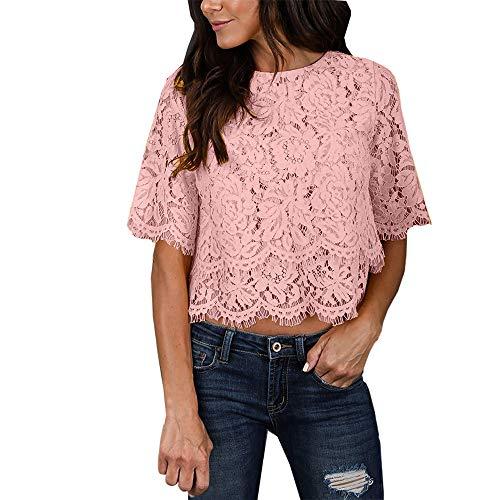 CAOQAO Mode Frauen Casual Trägershirt Bluse Kurzarm O Neck Druckspitze Top T-Shirt(Rosa,XL)
