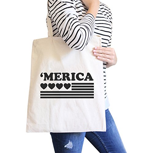 365 Printing inc , Borsa da spiaggia  Donna Ameowica Natural Canvas Bags Misura unica Heart And 'merica Natural Canvas Bags