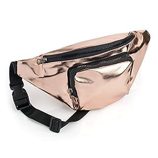 Rose Gold Coloured Metallic Finish Fabric Bum Bag/ Fanny Pack - Festivals/ Hols