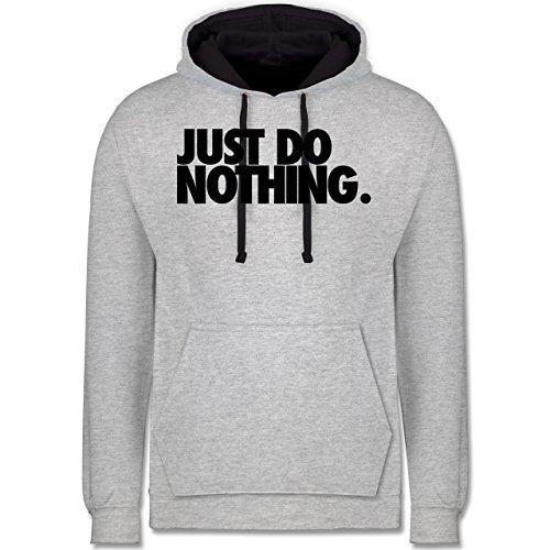 Statement Shirts - Just do nothing. - Kontrast Hoodie Grau meliert/Dunkelblau
