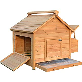 FeelGoodUK House Chicken Coop Nestbox Ventilated Ramp Locks Solid Wood 115cm Width * 85cm Depth * 90cm Height 10