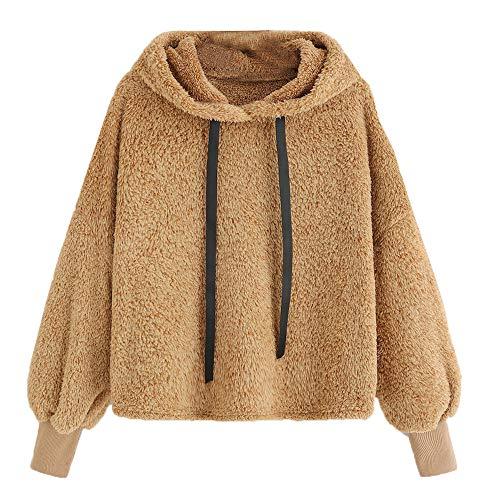 IZHH Damen Mantel Frauen Langarm Plüsch Mit Kapuze Rundhals Sweatshirt Bluse Lose Tops Langarm Einfarbig Plüsch Mit Kapuze Pullover(Gelb,X-Large)