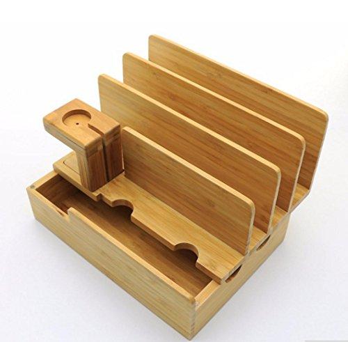 SHOUN Multifunktionale Bambus Handy Aufbewahrungsbox, Multi-Slot-Platte Ladestation, Charging Rack Platte-aufbewahrungsbox