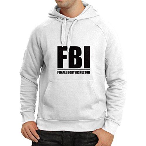 Kapuzenpullover FBI - Weiblicher Körper Inspektor - lustige Geschenke für Männer, Humorvolle Zitate (X-Large Weiß Schwarz)