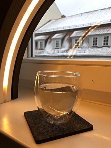 Oblique-Unique Filzuntersetzer Quadratisch 4er Pack 10cm Glasuntersetzer Getränke Untersetzer für Gläser Tassen – Farbe Wählbar (Schwarz)