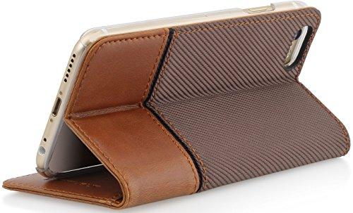 """StilGut Talis mit Standfunktion, schlanke Schutz-Hülle für iPhone 6s (4.7"""") mit Kreditkarten-Fächern aus echtem Leder. Seitlich aufklappbares Flip Case in Handarbeit gefertigt für das Original Apple i Marsala-braun"""