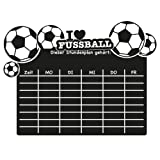 """Wandkings Wandtattoo """"Stundenplan Fußball"""" aus Tafelfolie 50 x 37 cm inkl. weißem Kreidemarker, schwarz, selbstklebend"""