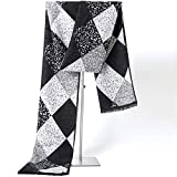 MINMINA New Scarf   European and American Men's Scarf   British Winter warm Scarf, Black and White, 180 * 30cm
