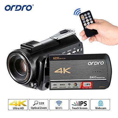 Videocamera 4K, Videocamera ORDRO 4K con Zoom 12x Opt, Zoom Digitale 100x, Videocamera 1080P 60FPS Ultra HD 4K Videocamere per Famiglie