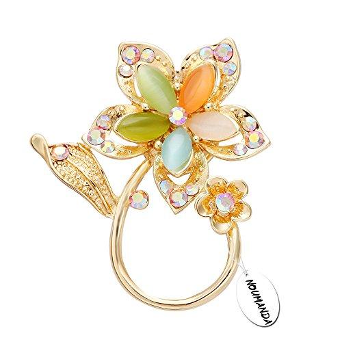 noumanda placcato oro brillante cristallo austriaco occhio di gatto pietra brillante bellissimo porta occhiali a forma di fiore spilla pin