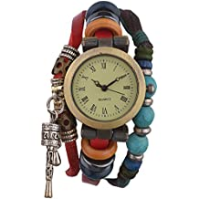 Habors Red Faux Leather Multi-Strand watch bracelet for Women/girls