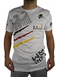4Fighter Copa del Mundo 'GERMANY' T-shirt para los hombres blanco en el diseño de camisetas de la selección nacional, Talla:L