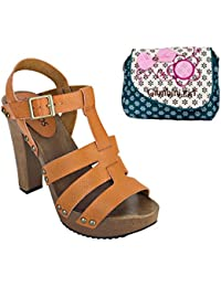 Estatos Pattern Leather Open Toe Buckle Closure Block Wooden Heel Brown Gladiator Sandals With Blue Printed Clutch...