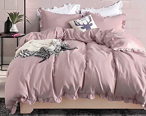 Boqingzhu Bettwäsche Set 200 x 200 3 Teilig mit Rüschen Bettbezug Mädchen Uni Rosa 100%...
