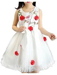 6020bddf16 Jipai TM Vestido de Niña Elegante Boda Fiesta Ceremonia con Flores para  Niña Vestido Blanco de
