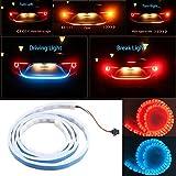 Lyauta LED-Beleuchtung, 120cm, LED-Strip, Eisblau + Rot, für Kofferraum, dynamischer Streamer, Bremslicht, Tagfahrlicht, Blinklicht, Warnleuchten, Auto-Styling, DC 12V