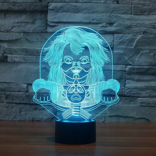 XIAOXINYUAN Kreative 3D Abstrakte Charakter Gradienten Touch Control LED Nachttischlampe USB Schlaf Nachtlicht Home Halloween Decor