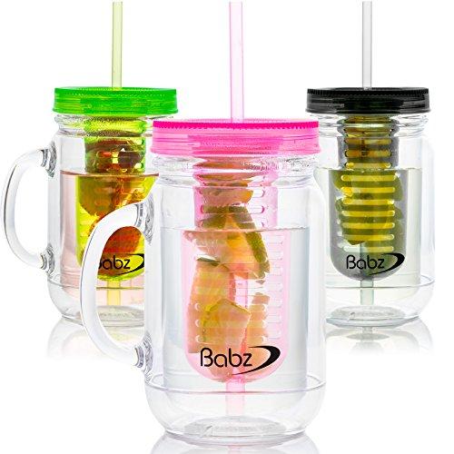 Babz 3x Fruit Infusion infundiert Wasser Mason Marmeladengläser Trinken Topf mit Griff und Trinkhalm 500ml, BPA-frei Black/Green/Pink