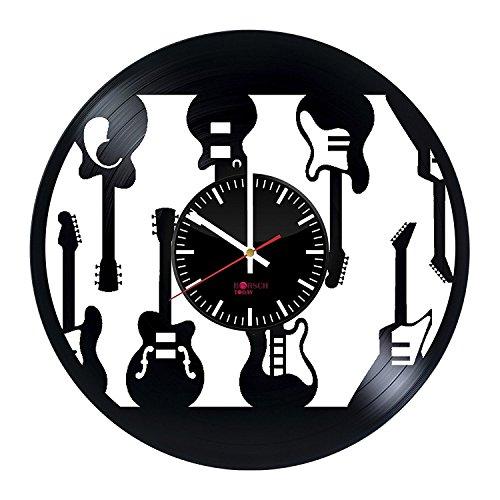 Borsch Today Wanduhr mit E-Gitarren-Design, handgefertigt, Vinyl-Platten-Wand-Dekoration, Geschenkidee für Männer und Frauen, Einzigartige Moderne Kunst (Elektrische Gitarre Strap Weiße)