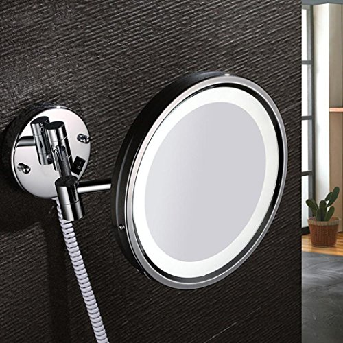 LyMei Copper LED Doppelseitige Schminkspiegel - Schminkspiegel, 360 ° Free Rotation 3X Vergrößerung Beauty Mirror, Chrom Poliert