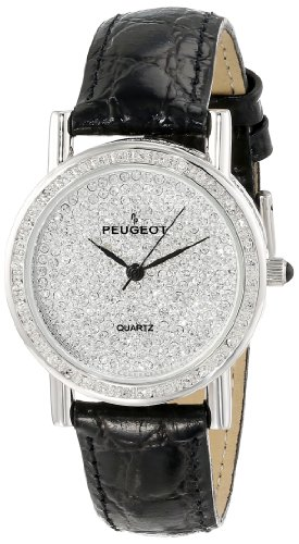 Peugeot Women's J1287M Silver-Tone Swarovski Crystal Case and Pave Dial Evening Watch