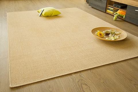 Flatwoven Rug Gotland Sisal Look Colour Natural - Edge Locked, Outdoor Use, Size 200x200 cm (6'6