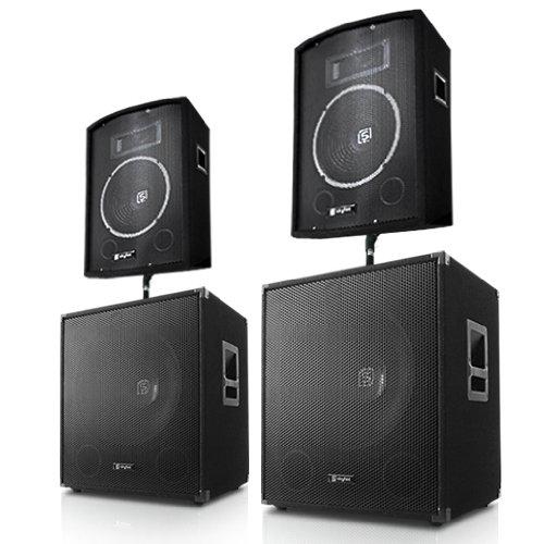 Skytec DJ Set sistema audio completo PA (2 x casse altoparlanti, 2 x subwoofer, potenza (Completo Dj Kit)