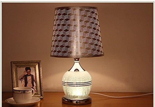 Glas Modern Schreibtisch (GJ- Tischlampe Garten Tischlampe Schlafzimmer Nachttischlampe Warm Creative Schreibtisch Lampe Einfache moderne Hochzeit Glas Lampe (Farbe : Silber))