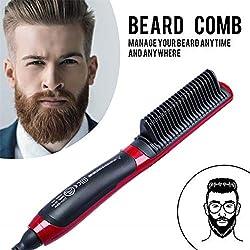 Beard Straightener Comb -Los Hombres la Barba rpida enderezadora Styler Peine Multifuncional rizador de Cabello Mostrar Herramienta de Tapa
