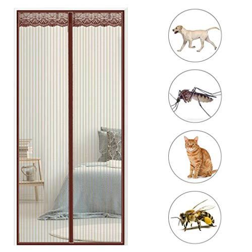XHCP Magnetic Screen Tür, hält Moskitos Insekten fern, einfache Installation, super leise Streifen, für Balkon Schiebetüren Wohnzimmer - Braun 71x87inch (180x220cm)