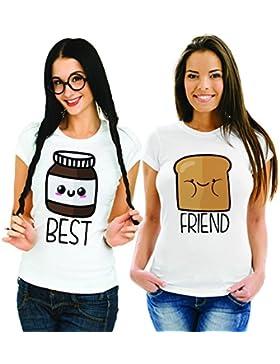 Babloo Coppia Di T Shirt Magliette You And Me Best Friend Pane e Cioccolata