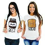 Coppia di T Shirt Magliette You And Me Best Friend Pane e Cioccolata Bianche Donna Best M Donna Friend S