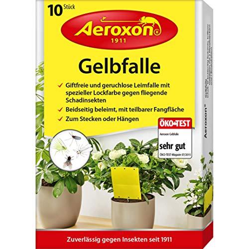Aeroxon - Gelbfalle - Gelbtafeln - 10 Stück - für Topf, Garten und Balkon - wirkt gegen die geflügelte Blattlaus, Minierfliege, Trauermücke und weiße Fliege