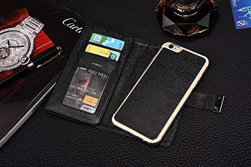 iPhone Case Cover IPhone 6s 6 cas, luxe de couleur unie 3 pliable PU Leather Wallet Case avec carte Cash Slot et Photo Window Pattern pour iPhone 6s 6 ( Color : Brown , Size : IPhone 6s ) Black